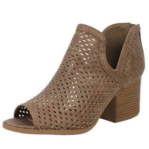 Shoes - Taupe Perforated Peep Toe Stacked Block Heel Boot
